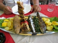 Fresh Trouts, Grilled Meat and Vegetables.