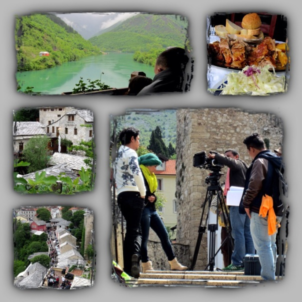 View from Jablanica and Mostar, Movie crew from Asia shooting scenes.